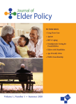 This cover image features two photos of elders on the left side, the name of the journal banner on the top, and a table of contents on right right in orange